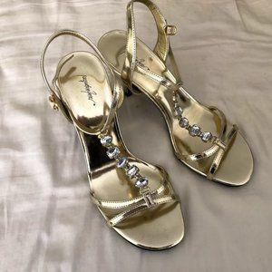 Jacqueline Ferrar Gold Rhinestone Heels Size 7
